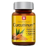 SwissMedicus Curcuminum+ Kurkuma (Curcuma) Kapseln [13320 mg] im 120 Stück: Curcumin Extrakt, Piperin extrakt und Alginat in Form Mikropellets. Schweizer Qualität. Nahrungsergänzungsmittel.