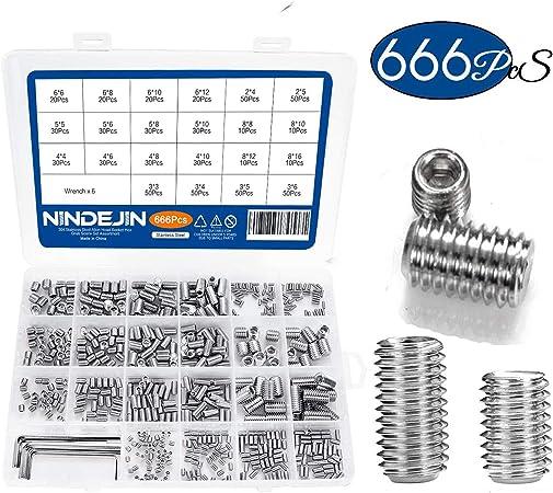 300Pcs Set M3 M4 M5 M6 Mix 304 Stainless Steel Grub Screw Cone Point Hex Socket
