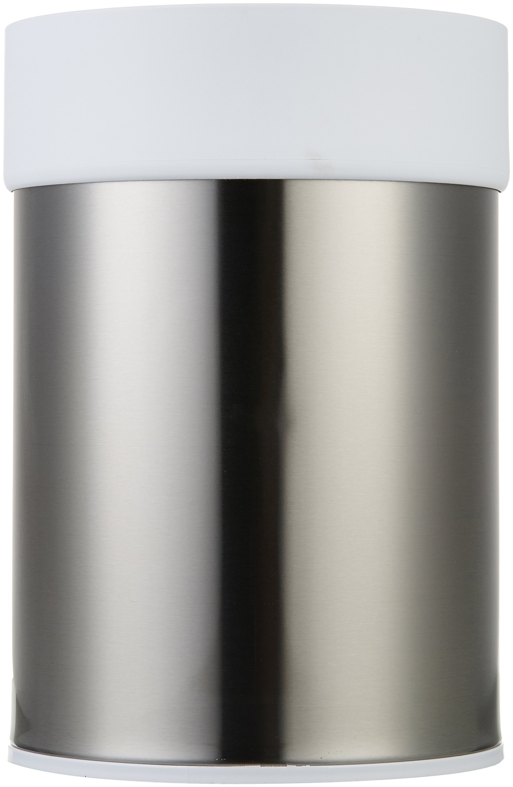 AmazonBasics Stainless Steel Trash Waste Can with Lid, White