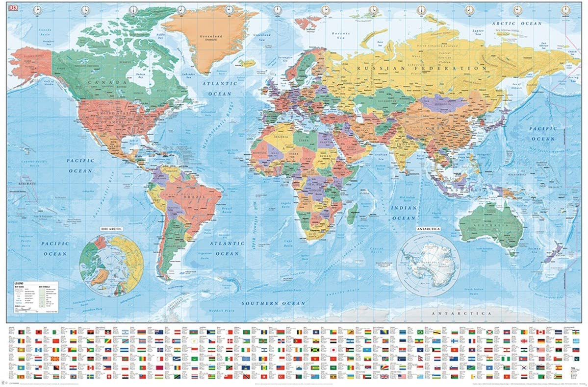 World Map Flags And Facts Poster 61x91.5cm