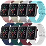 Silicone Bands Compatible with Apple Watch Bands 44mm 42mm 40mm 38mm for Women Men, Replacement Strap with Classic Buckle for