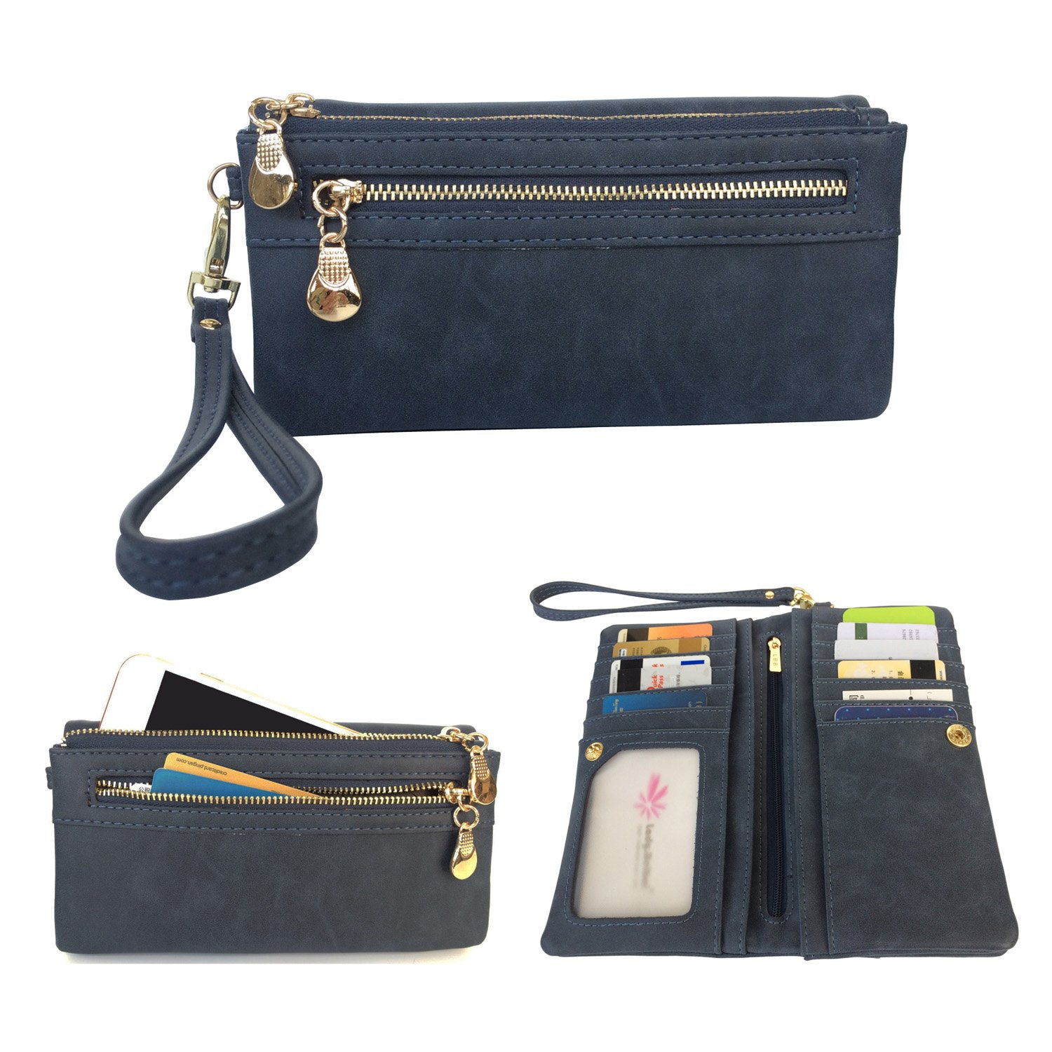 Women's Wristlet Wallet FanCarry PU Leather Clutch Purse Card Organizer w/ Front Zipper Pockets (Dark Blue) by FanCarry