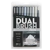 Tombow Marcadores artísticos de doble punta, escala de grises, paquete de 10