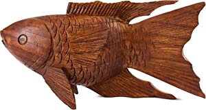 G6 Collection Wooden Hand Carved Koi Fish Statue Figurine Sculpture Art Decorative Rustic Home Decor Accent Handmade Handcrafted Seaside Tropical Nautical Ocean Coastal Decoration Koi Fish (8
