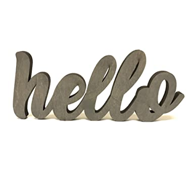 Wood Hello Cutout Sign Made of Birch Plywood Stained Gray