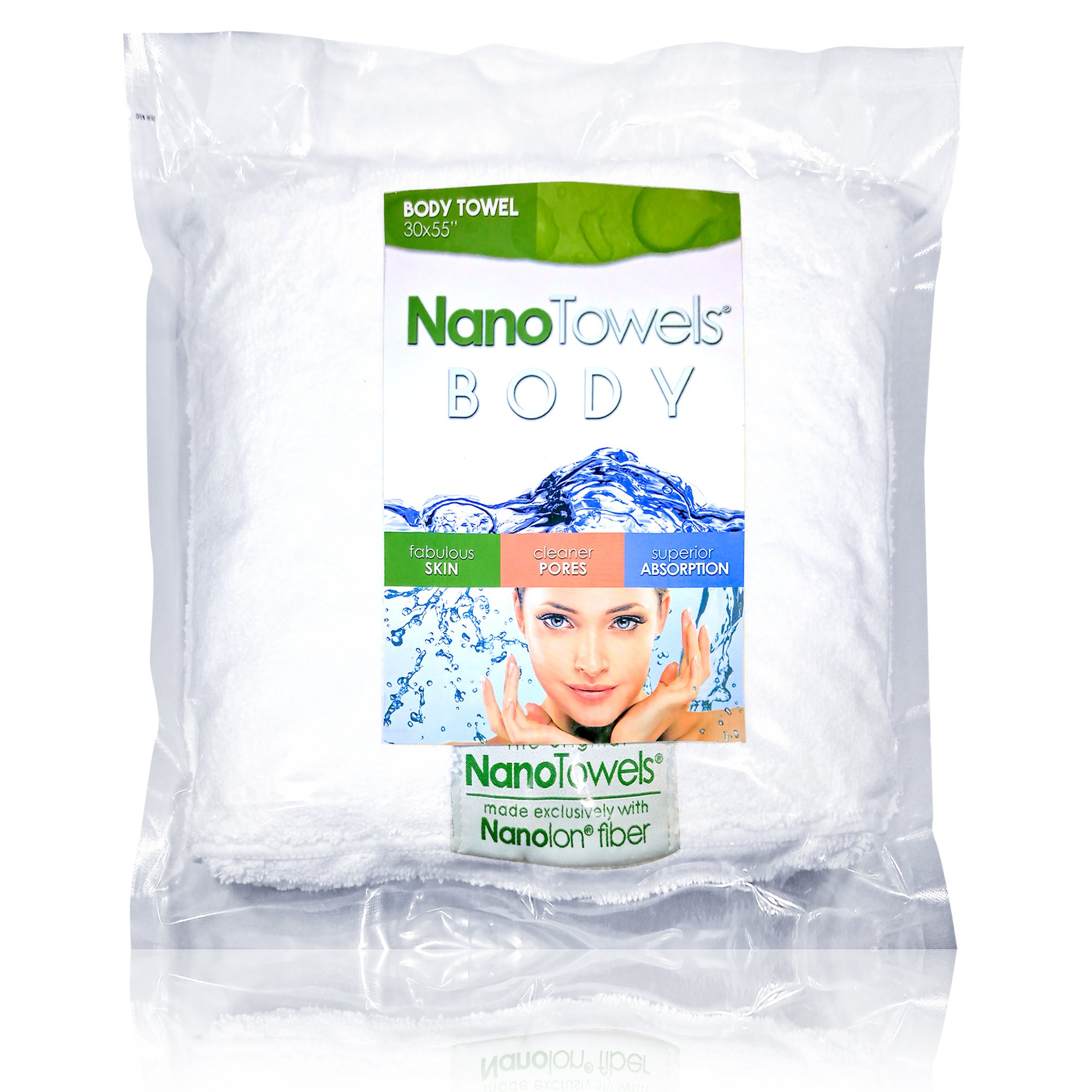 "Nano Towels Body Bath & Shower Towel. Huge & Super Absorbent. Wipes Away Dirt, Oil and Cosmetics. Use As Your Sports, Travel, Fitness, Kids, Beauty, Spa Or Salon Luxury Towel. 30 x 55""."