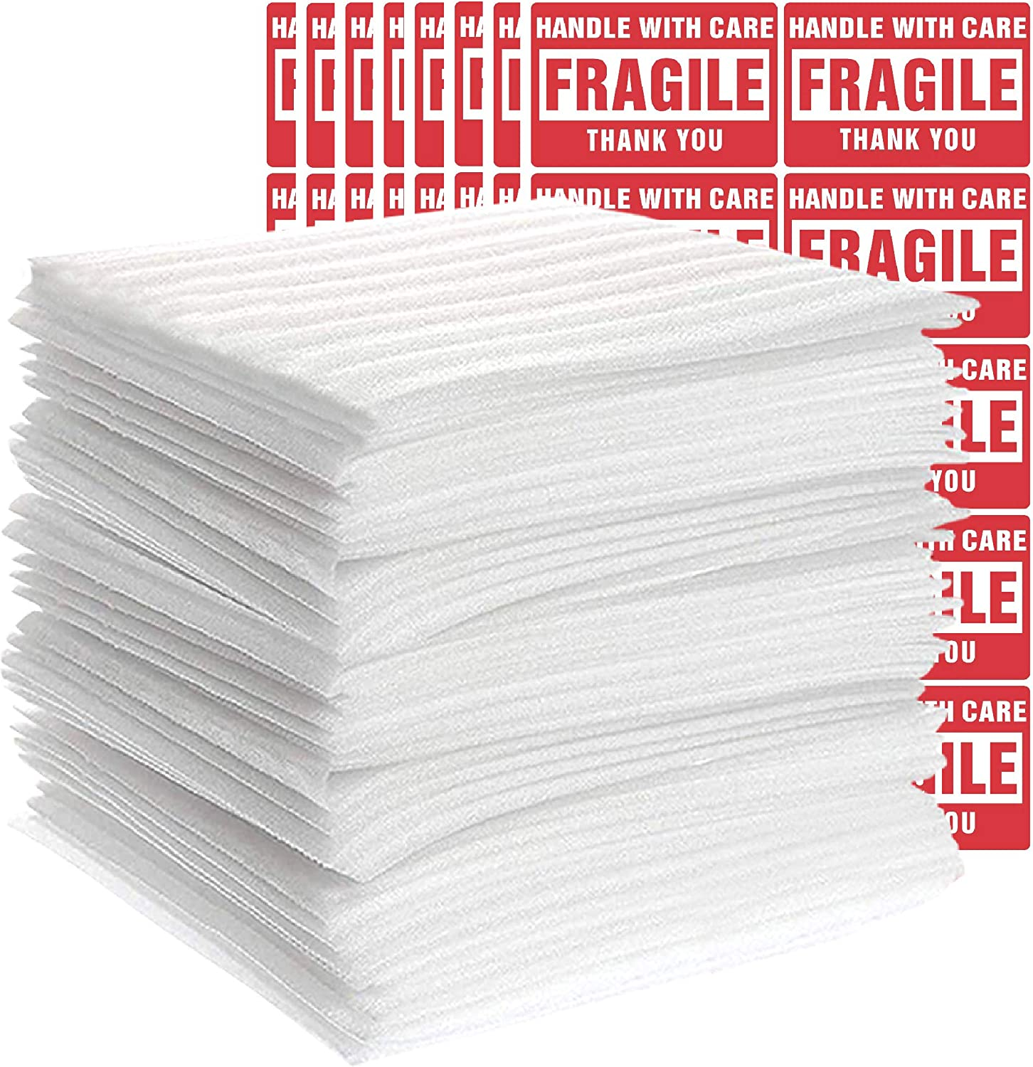 TeiKis 100-Pack (12 x 12 in) Foam Wrap Sheets for Moving Shipping Packing Supplies with 80 Fragile Labels