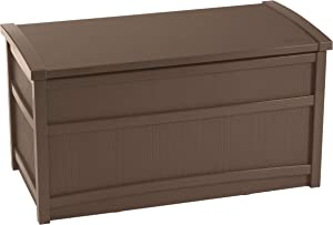 Suncast 50-Gallon Medium Deck Box - Lightweight Resin Indoor/Outdoor Storage Container and Seat for Patio Cushions, Gardening Tools and Toys - Store Items on Patio, Garage, Yard - Brown (DB5000B)