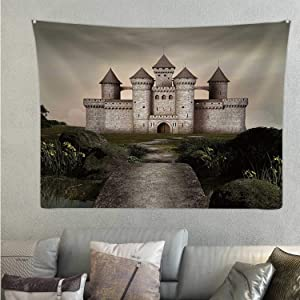 Tstyrea Castle in an Enchanted Garden Castle,Tapestries Wall Hanging Medieval for Bedroom 78.7'' x 59.1''(WxH)
