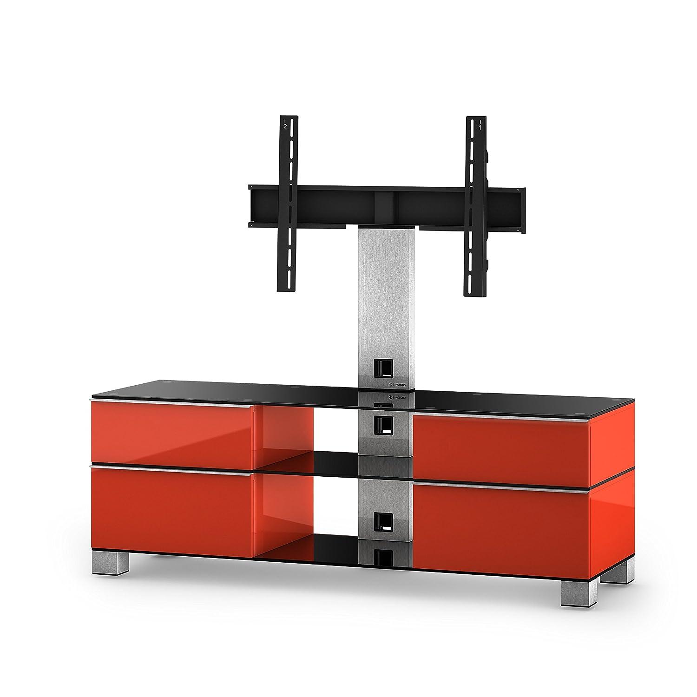 Sonorous MD 8240-B-INX-RED Fernseher-Möbel mit Schwarzglas (Aluminium Inox, Korpus Hochglanzdekor) rot