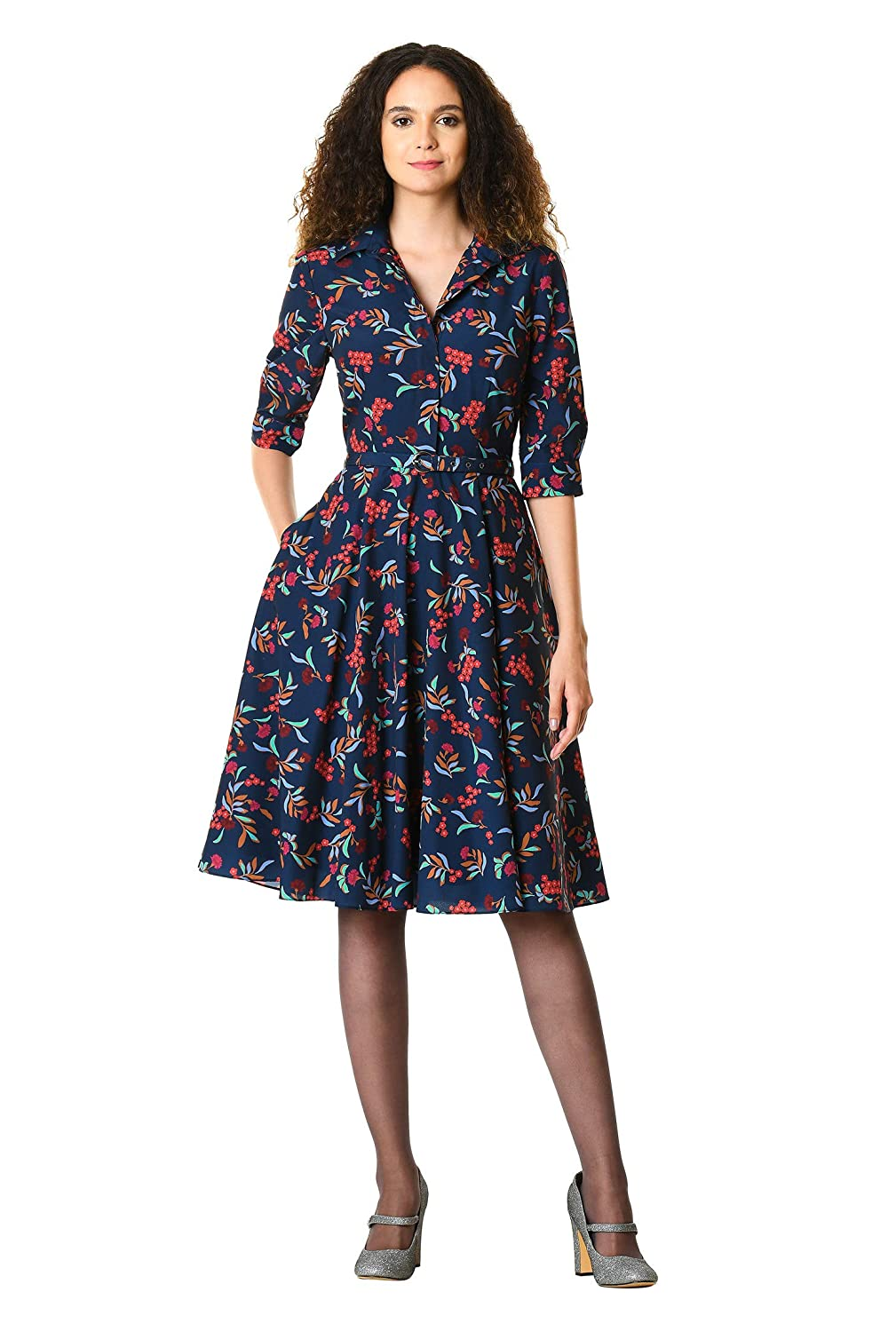 eShakti Women's Floral sprig Print Crepe Belted Shirtdress CL0060113