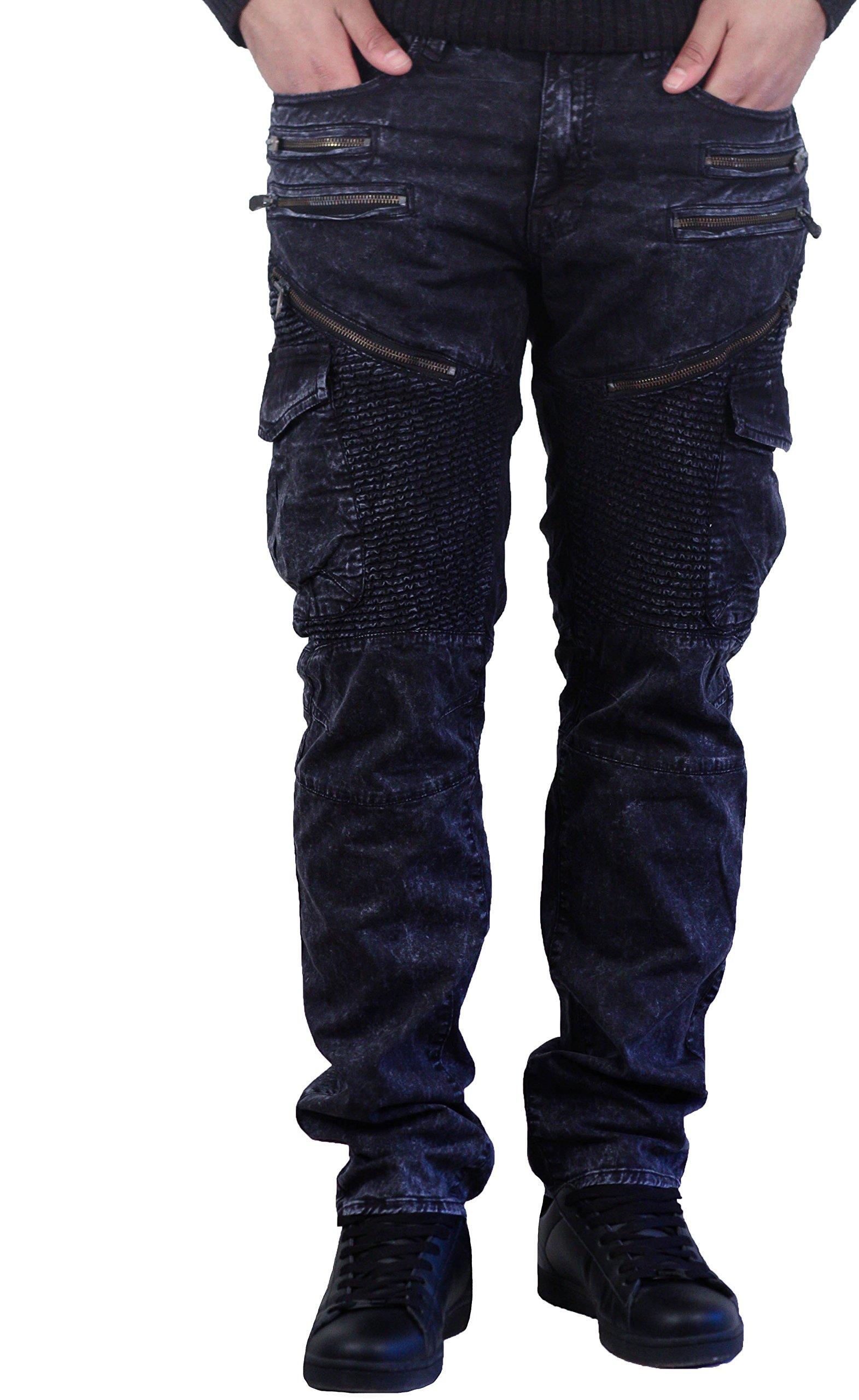 Jordan Craig Moto Zip Aaron Slim Straight Fit Men's Pants Navy Blue jm2153-navy (Size 40x32)