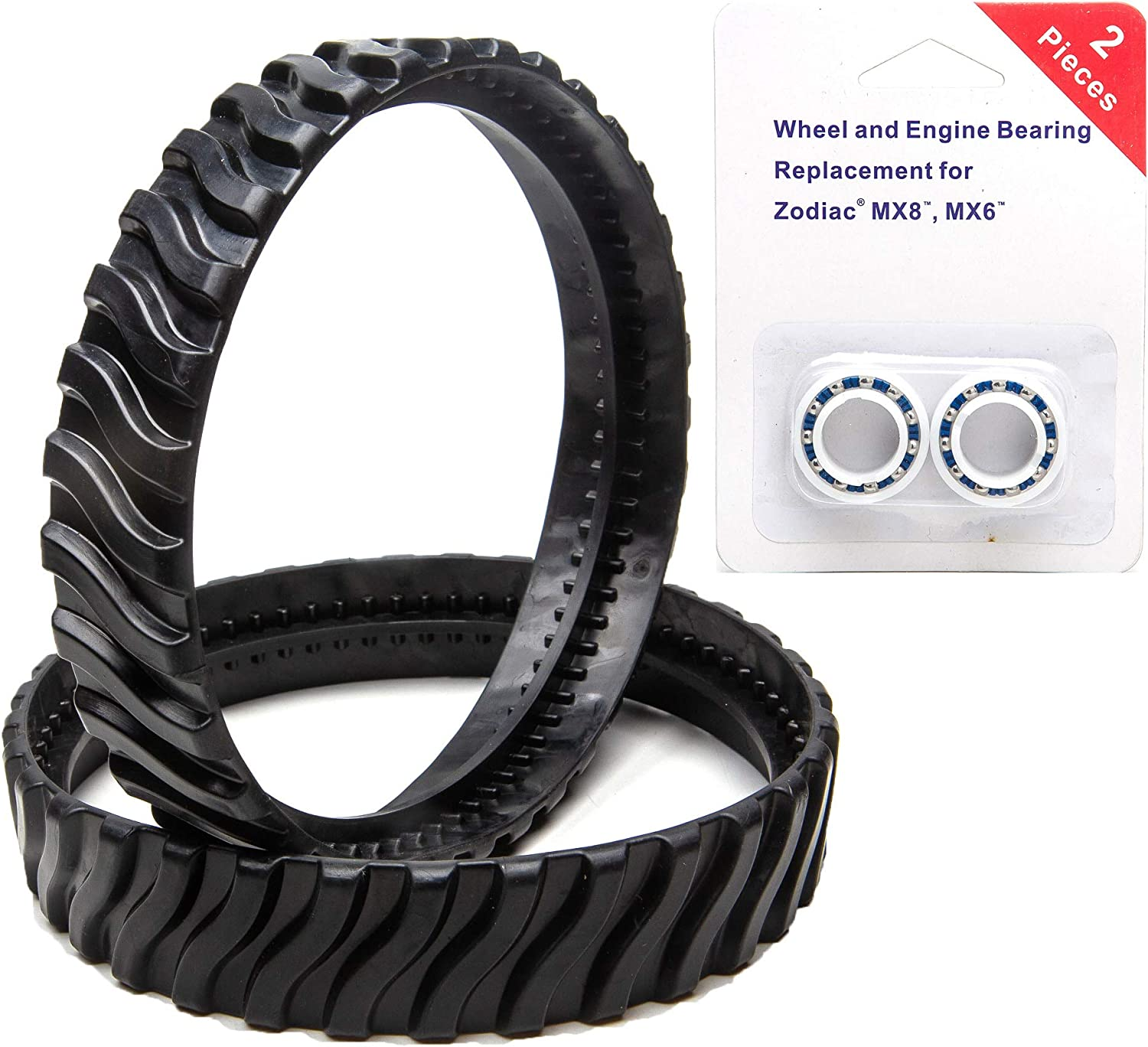 ATIE Pool Cleaner Tune-Up Rebuild Kit Replacement for Zodiac MX8 MX6 Pool Cleaner Including 2 Engine Bearings R0527000 and 2 Tire Tracks R0526100 Replacement