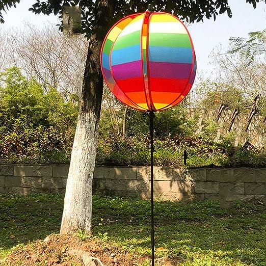 GLOOPE Viento del Arco Iris a la Esfera Redonda Molino de Viento, Jardín al Aire Libre Atracciones Decoración del césped Juguete para niños Molino de Viento Fiesta Molino de Viento: Amazon.es: Hogar