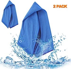 SKL Cooling Towel 2 Pack, Instant Cooling Neck Gaiter Towel, Soft Breathable Stay Cool Ice Towel for Camping, Hiking, Gym, Fitness, Yoga, Golf 2 Size 59.0631.5 Inch, 14.767.87 Inch Blue