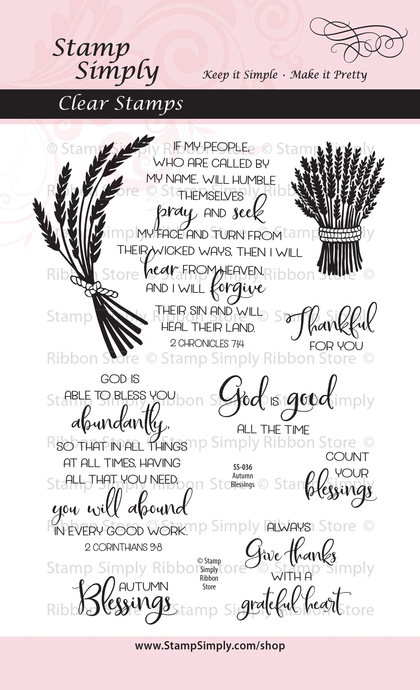 Stamp Simply Clear Stamps Autumn Blessings Thanksgiving Thankful Fall Christian Religious 4x6 Inch Sheet - 9 Pieces