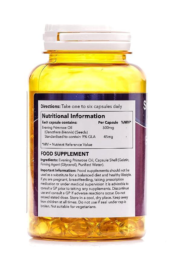 Aceite de onagra 500mg - 180 cápsulas - Hasta 6 meses de suministro - Para la salud del corazón y el equilibrio hormonal - SimplySupplements: Amazon.es: ...