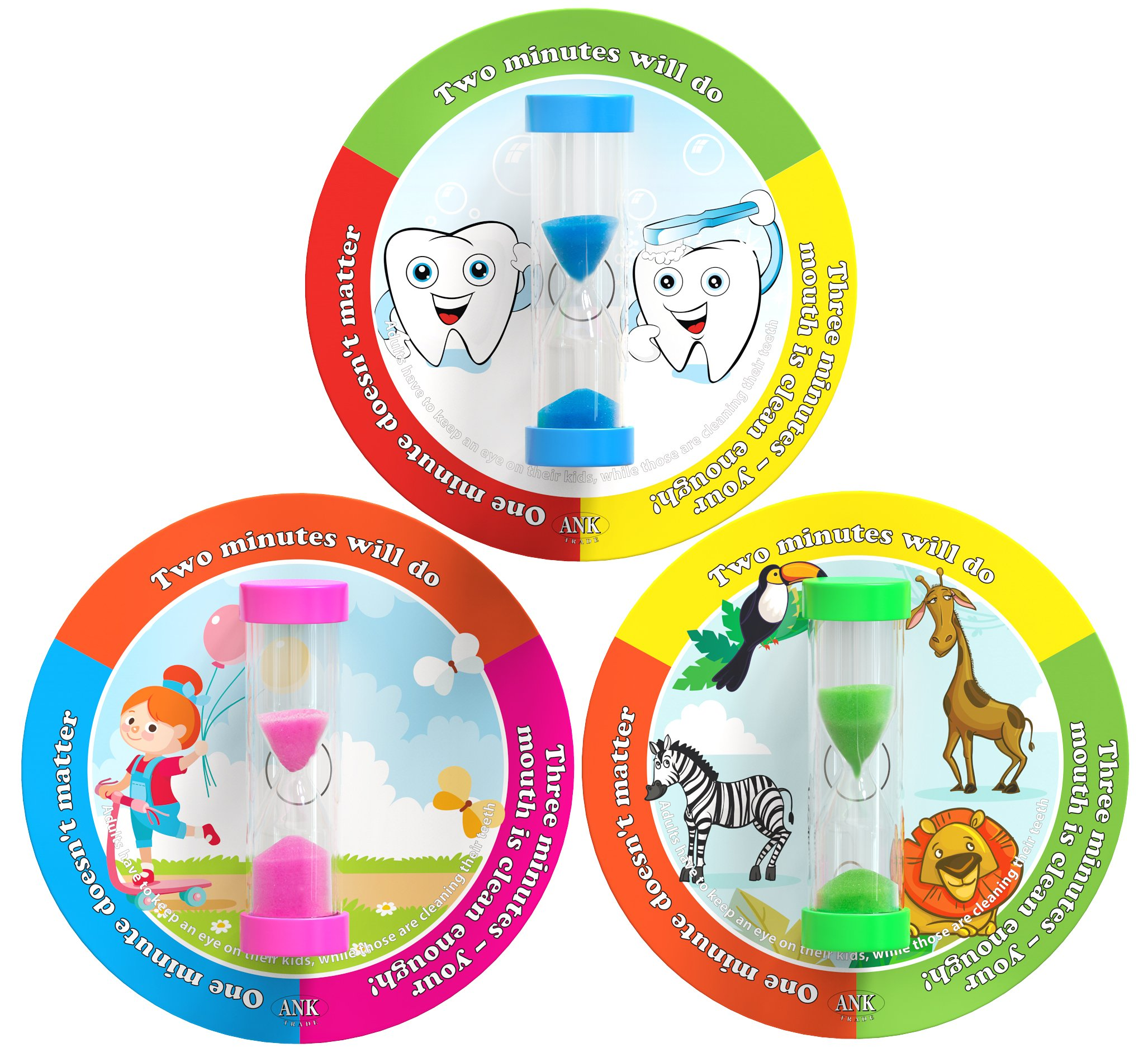 ANK-Trade 3 Minutes Toothbrush Timer Helps Ingrain Thorough Brushing Habit for Better Oral Health - Set of 3 Tooth Brushing Timer for Kids - Hourglass Sand Timer - Blue, Pink & Green