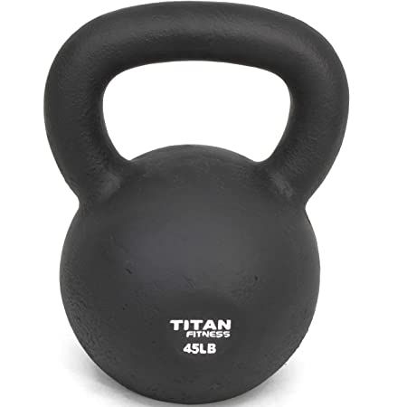 Titan Fitness Cast Iron Kettlebell Weight 45 Lbs Natural Solid Workout Swing
