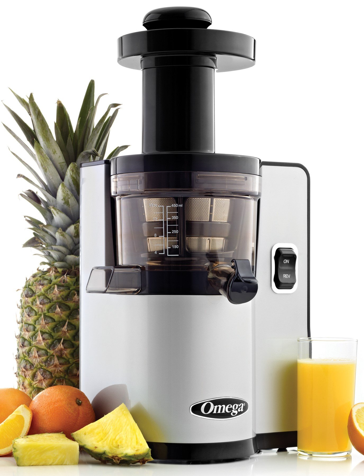 Omega VSJ843QS Vertical Slow Masticating Juicer Makes Continuous Fresh Fruit and Vegetable Juice at 43 Revolutions per Minute Features Compact Design Automatic Pulp Ejection, 150-Watt, Silver by Omega