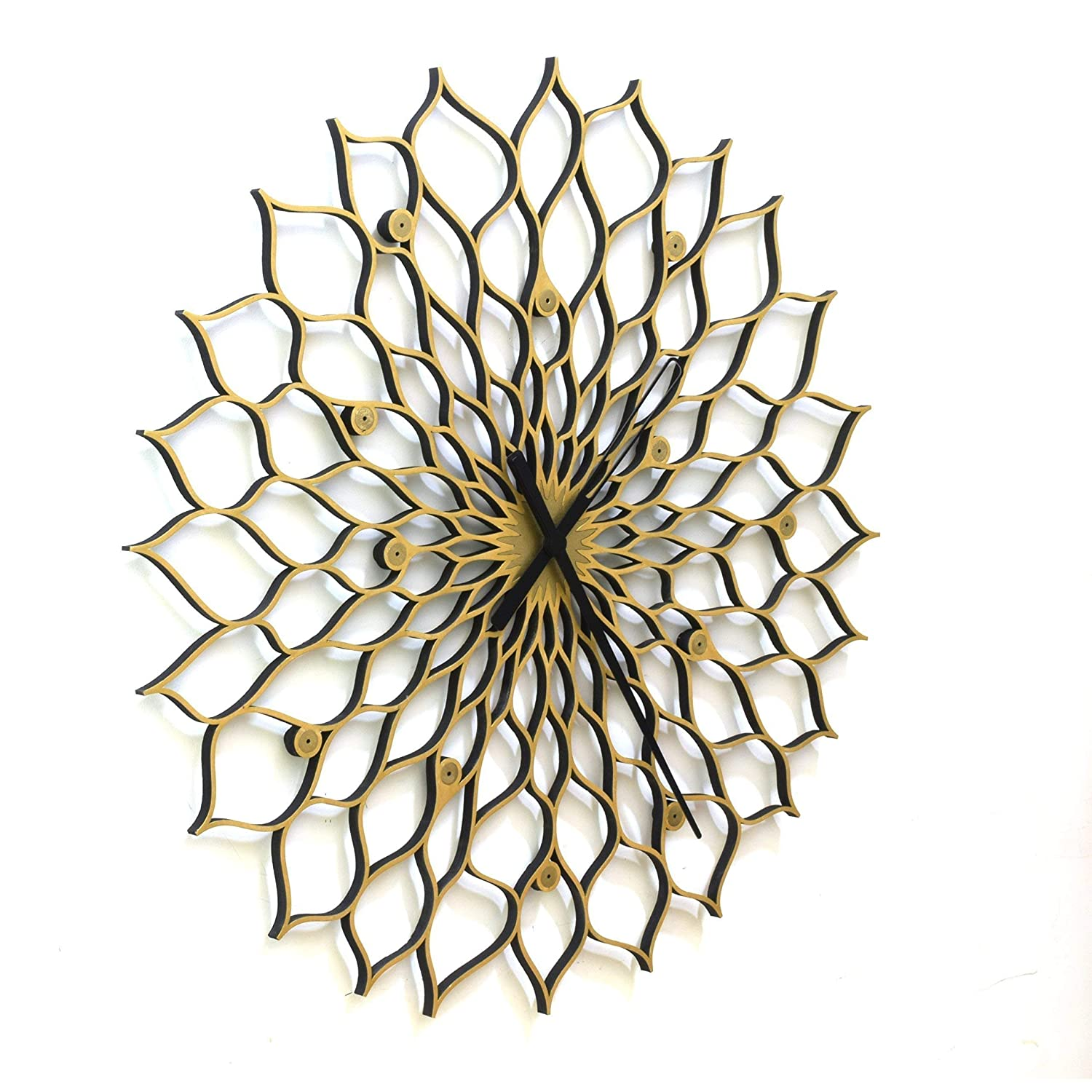 3 Extra Large Size Handmade Organic Wall Clock with Golden Shades by ardeola Gigantic Sunflower Clock