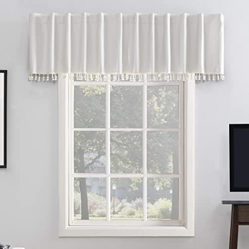 Sun Zero Greyson Faux Dupioni Silk Beaded Tassels Extreme 100 Blackout Back Tab Curtain Valance, 50 x 17 , Pearl White