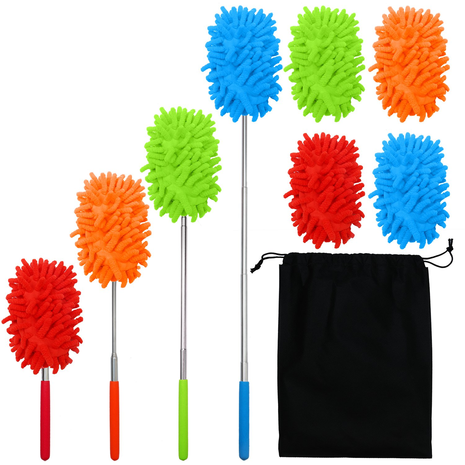 Aneco 4 Pack Extendable Microfiber Duster Dusting Brush Set With Free 4 Duster Heads with Telescoping Pole for Home, Office, Car with Storage Bag,4 Colors