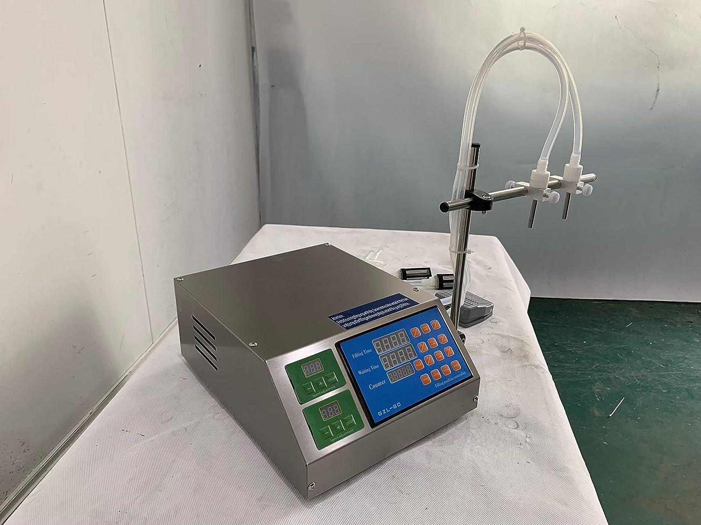 Hanchen 4L Liquid Filling Machine Diaphragm Pump Digital Display Speed Bottle Filler for CBD, MCT Oil, Milk, Beverage, Water, Juice, Essential Oil with 2 Heads (220v 50Hz British Plug)