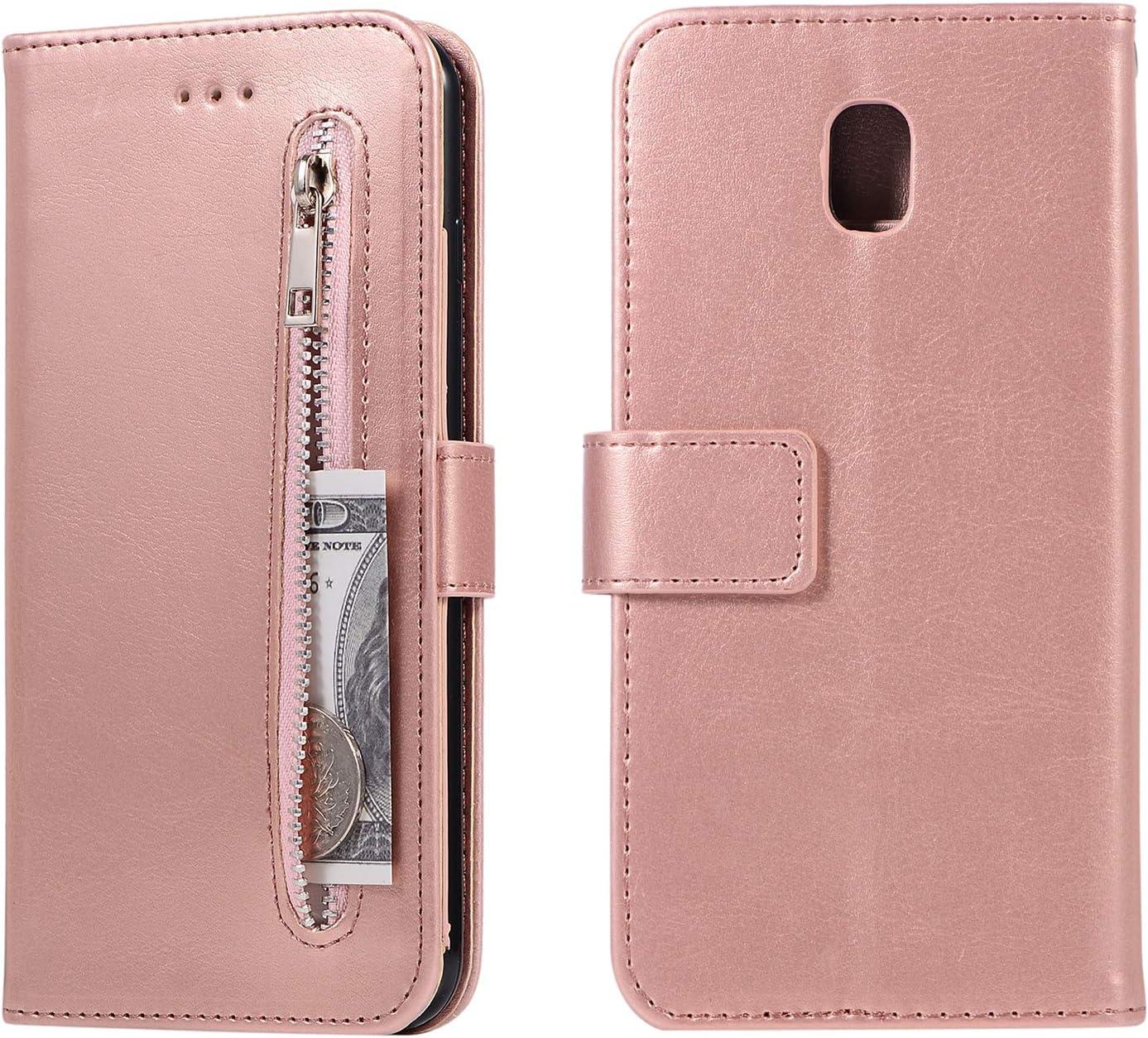 HUDDU Handyh/ülle Kompatibel mit Samsung Galaxy J5 2017 J530 H/ülle Leder Wallet Schutzh/ülle 5 Kartenf/ächer Rei/ßverschluss Brieftasche Magnetverschluss Tasche PU Case St/änder Lederh/ülle Wristlet Rot