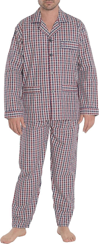 El Búho Nocturno Pijama de Caballero de Manga Larga clásico a Rayas o Cuadros de Tela de algodón para Hombre: Amazon.es: Ropa y accesorios