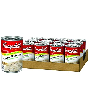Campbell's Ready to Serve Low Sodium Cream of Mushroom Soup, 10.5 oz. Can (Pack of 12)