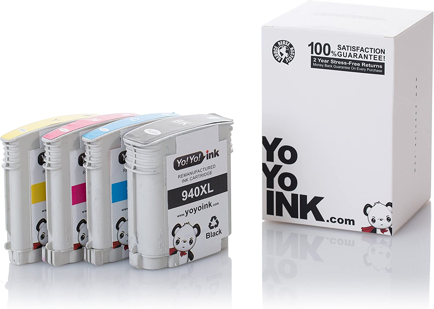 YoYoInk Remanufactured Ink Cartridge Replacement for HP 940XL 940 High Yield (1 Black, 1 Cyan, 1 Magenta, 1 Yellow; 4-Pack)