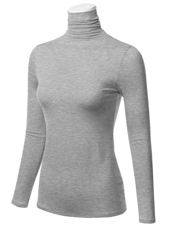 FLORIA Womens Long Sleeve Lightweight Slim Turtleneck Top Pullover S-3XL