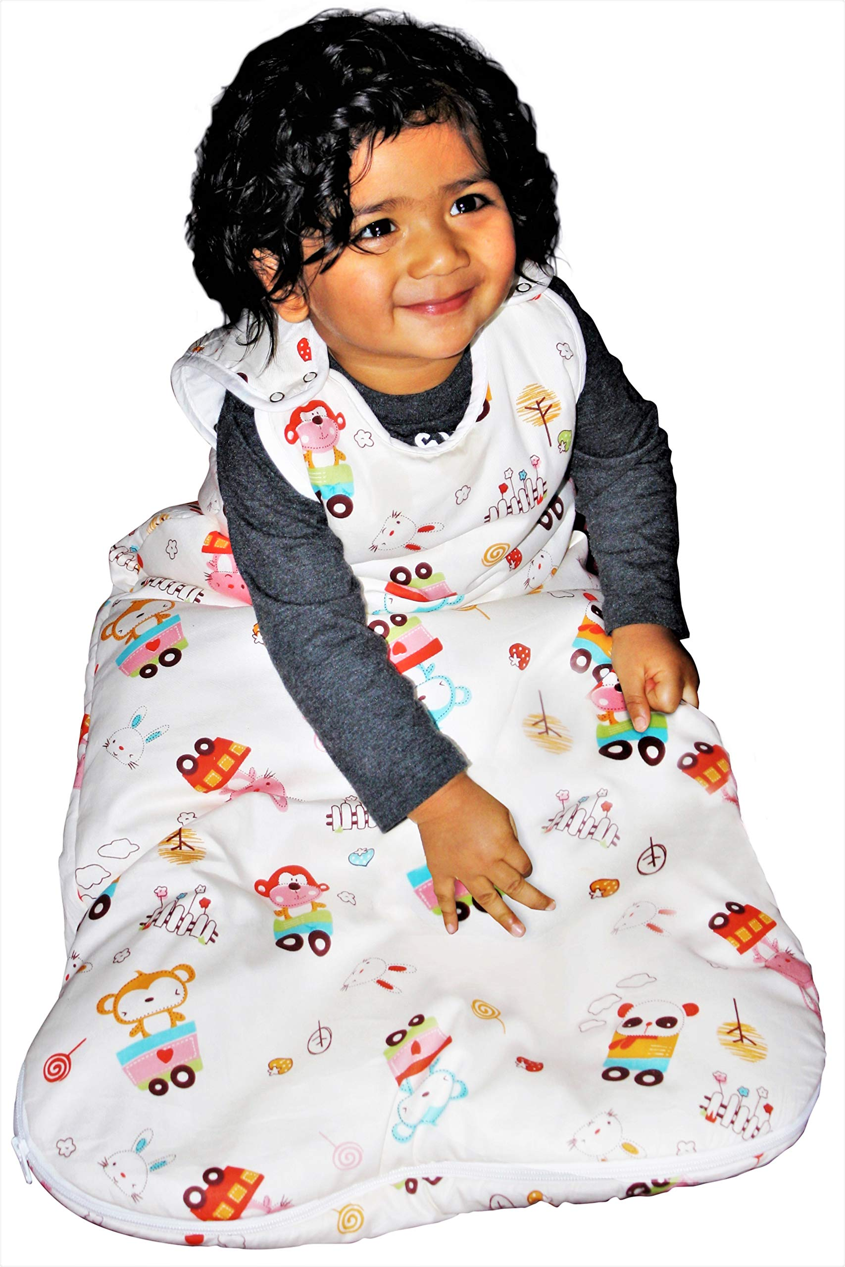 Baby Sleeping Bag Unisex, 2.5 Tog Winter Sleep Sack | Warm | 100% Cotton Lining Exterior & Interior | 100% Polyester Filling (18-36 Months) by Les Tulipes du Nord