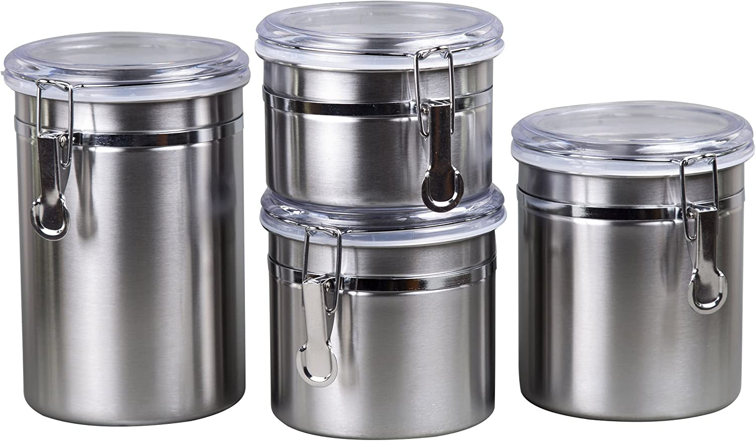 Creative Home 4-Piece Canister Container Set with Air Tight Lid and Locking Clamp, Stainless Steel