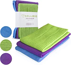 SOLLIEVO Microfiber Cleaning Cloth Set -Home Cleaning Pack - 3 Pack (Blue,Green,Purple) - Kitchen Cleaning Cloth, Dust Microfiber Cloth, Window/Glass Cleaning Cloths - Lint Free Cloth
