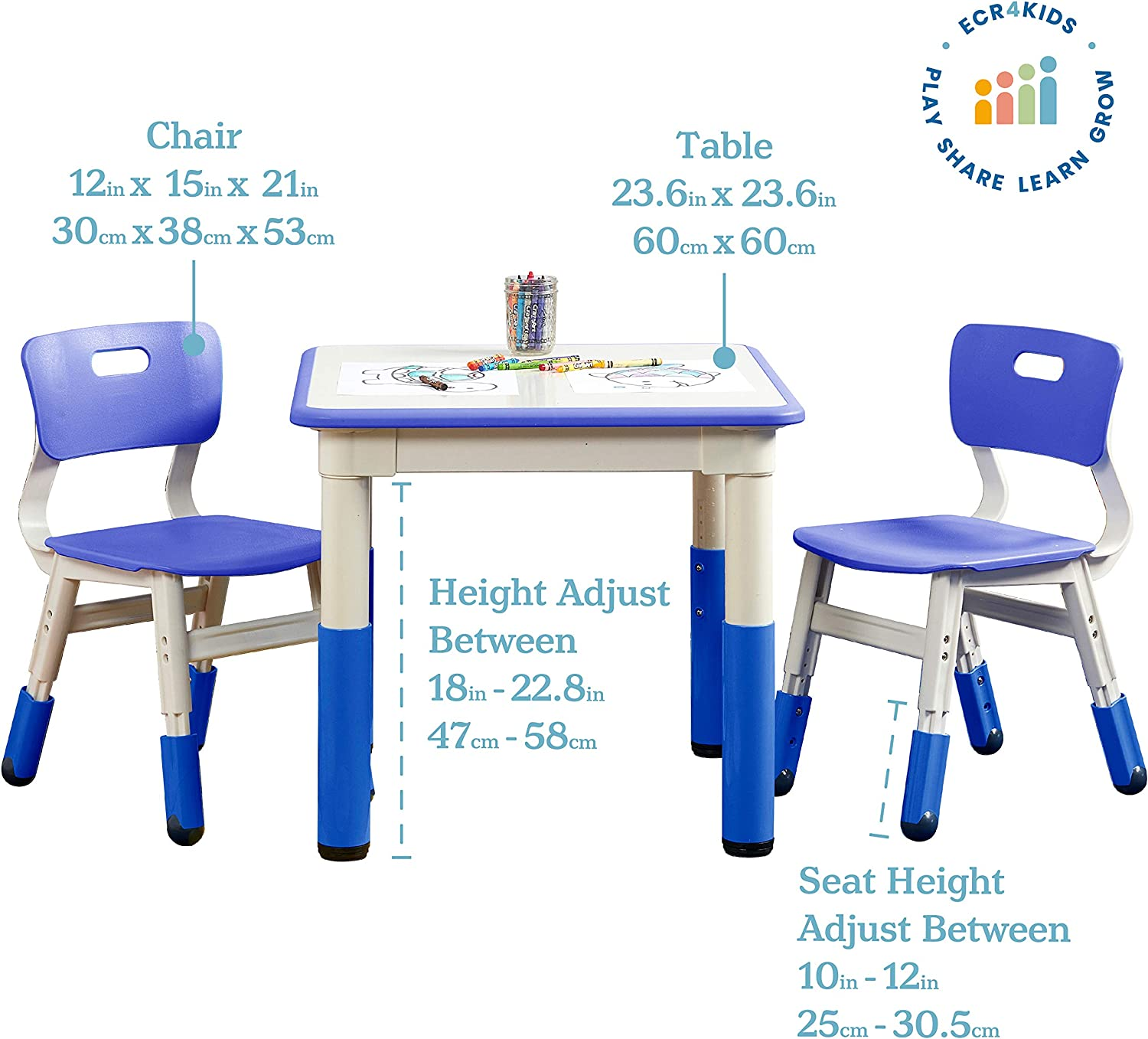 Amazon Com Ecr4kids Square Resin Dry Erase Activity Table With 2 Chairs Indoor Kids Plastic Adjustable Table And Chair Set For Classrooms Daycares Homes Cornflower Blue 3 Piece Set Toys Games