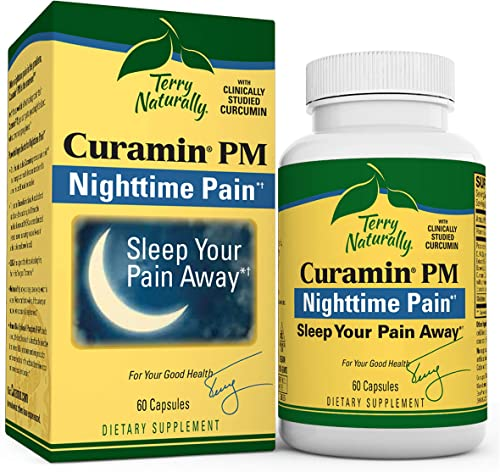 Terry Naturally Curamin PM – 60 Vegan Capsules – Non-Habit Forming Nighttime Pain Relief Supplement, Contains Curcumin Melatonin – Non-GMO, Gluten-Free, Kosher – 30 Servings