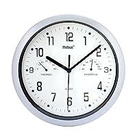 Wanduhr von Mebus mit Thermometer und Hygrometer Küchenuhr Schwarz Silber 25cm (Weiß)