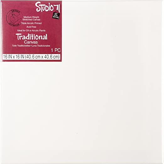 16 by 16 inch Traditional Stretched Canvas White Darice Studio 71 Primed Medium Weight 16 x 16