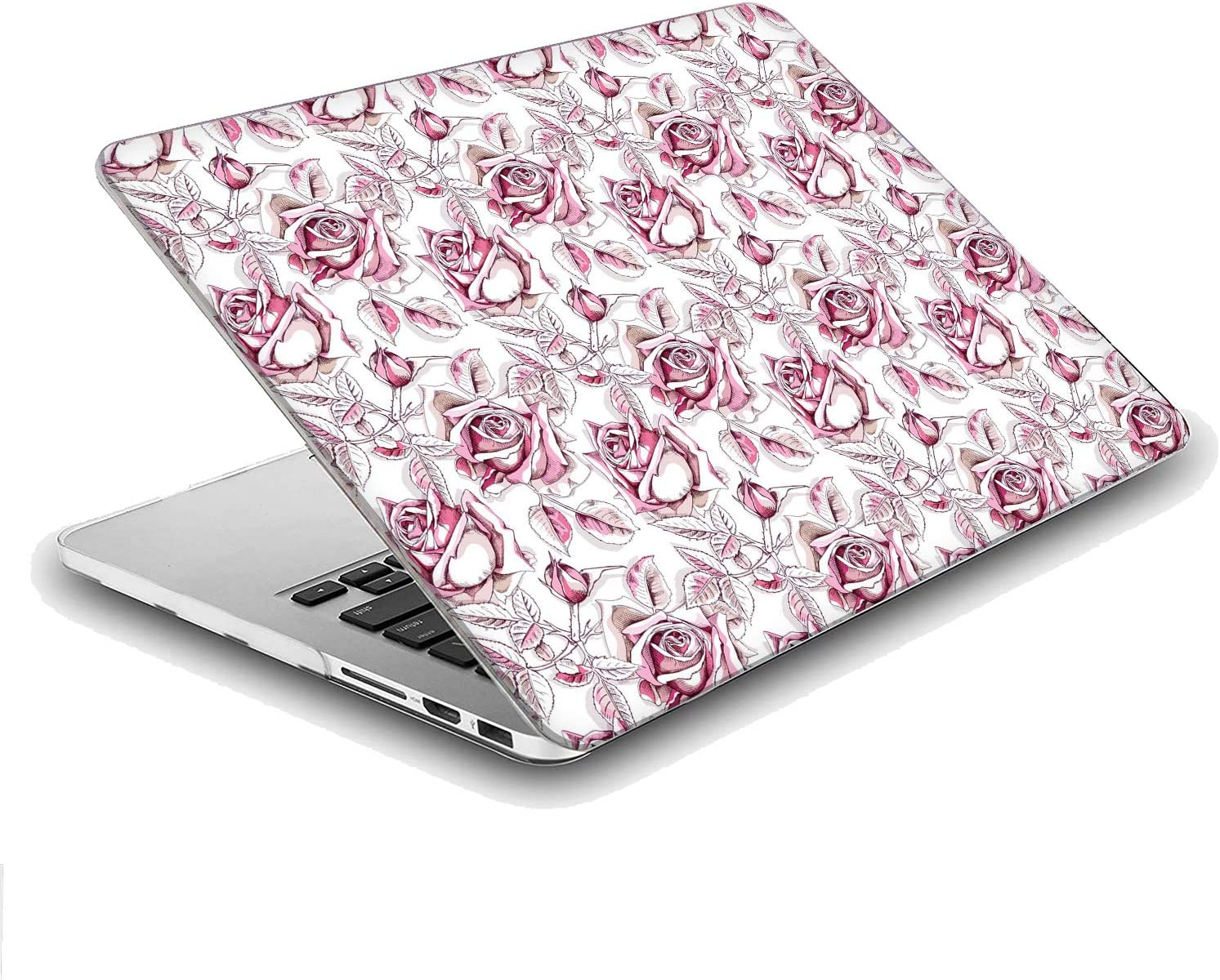 Compatible with MacBook Air 13 inch Hard Plastic Shell Cover Case Floral Rose Pattern A1932, 2019 2018 Release