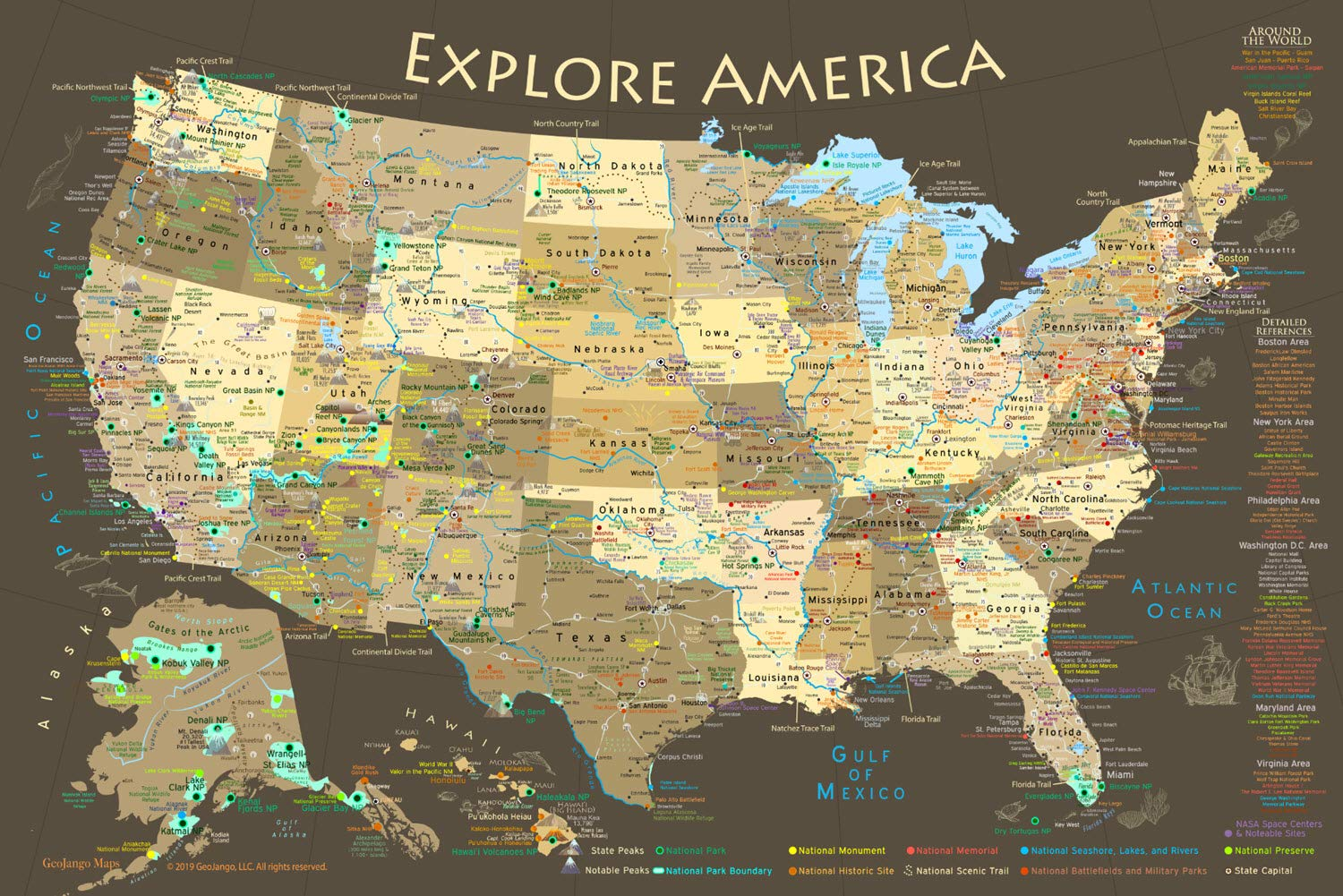 GeoJango Maps National Parks Map Poster and USA Travel Destinations Poster (36W x 24H inches)