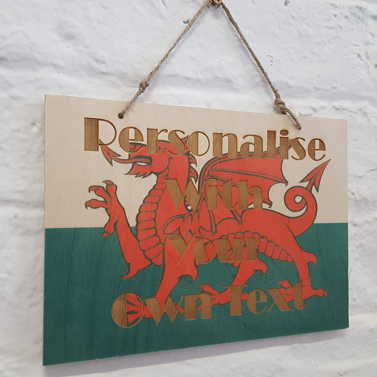 Welsh Wales Flag Dragon ADD YOUR OWN TEXT Hanging wooden wall sign plaque 14x21cm PERSONALISED Custom Made A5 Size