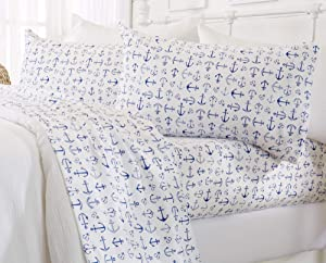 Great Bay Home Printed Coastal Microfiber Bed Sheets. Wrinkle Free, Deep Pockets, Beach Theme Sheet Set. Newport Collection (Queen, Anchor)