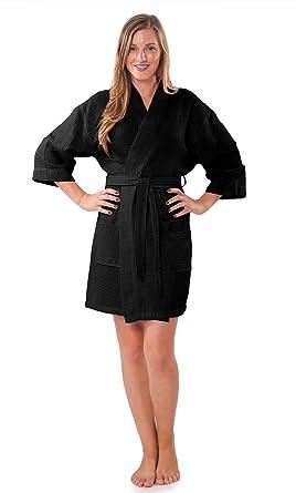 Turquaz Linen Lightweight Thigh Length Waffle Kimono Bridesmaids Spa Robe 594deadb9