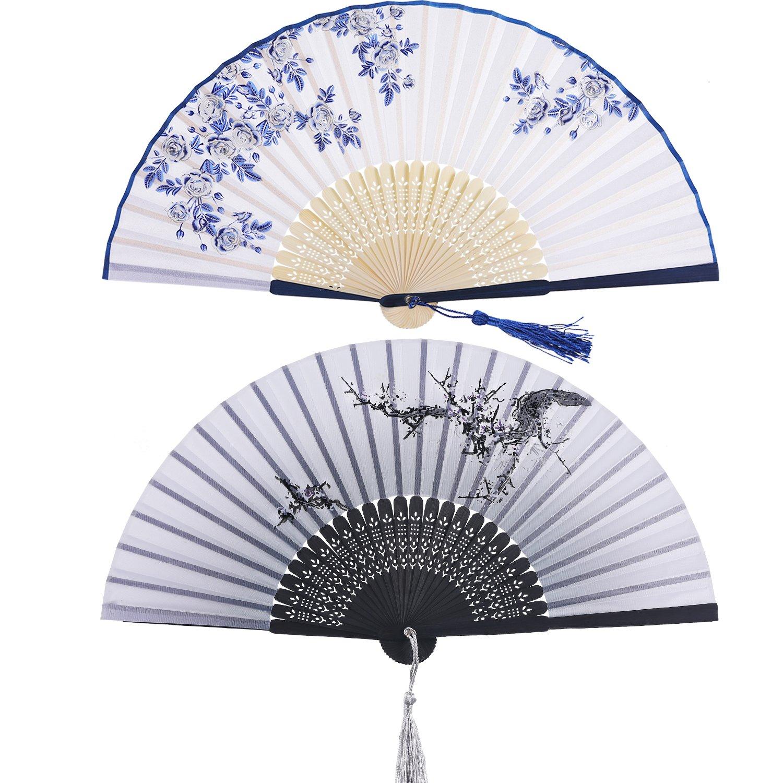 2 Pezzi Ventilatore Piegante Ventilatore Bambù con Donna delle Nappe Ventilatori in Bambù per Parete di Decorazione, Regalo (Blu Rosa e Pattern di Ciliegio Nero) Hotop