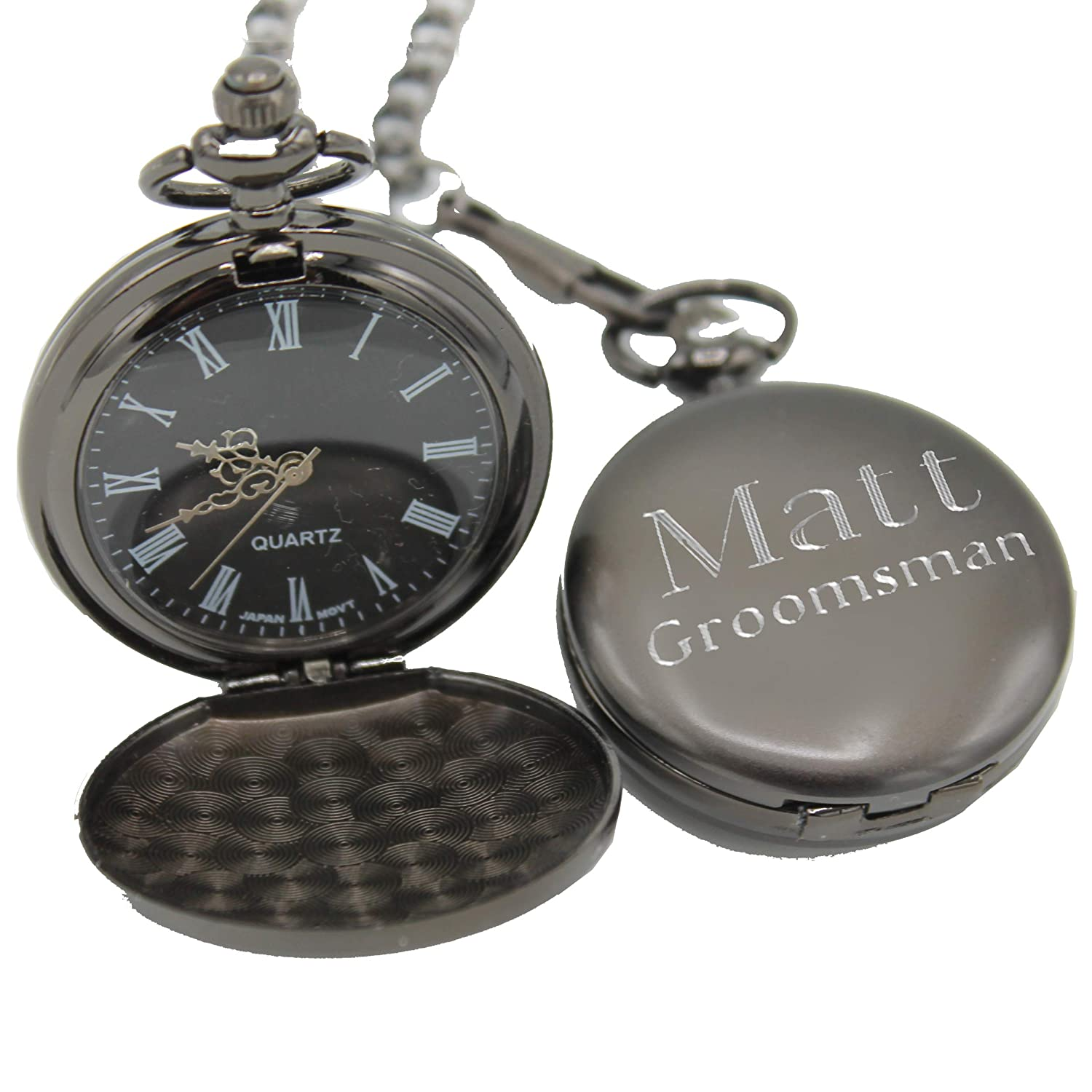 eab60b0cb Amazon.com: Personalized Gunmetal Quartz Pocket Watch with Chain - Groomsmen  Wedding Party Gifts - Engraved for Free: Watches