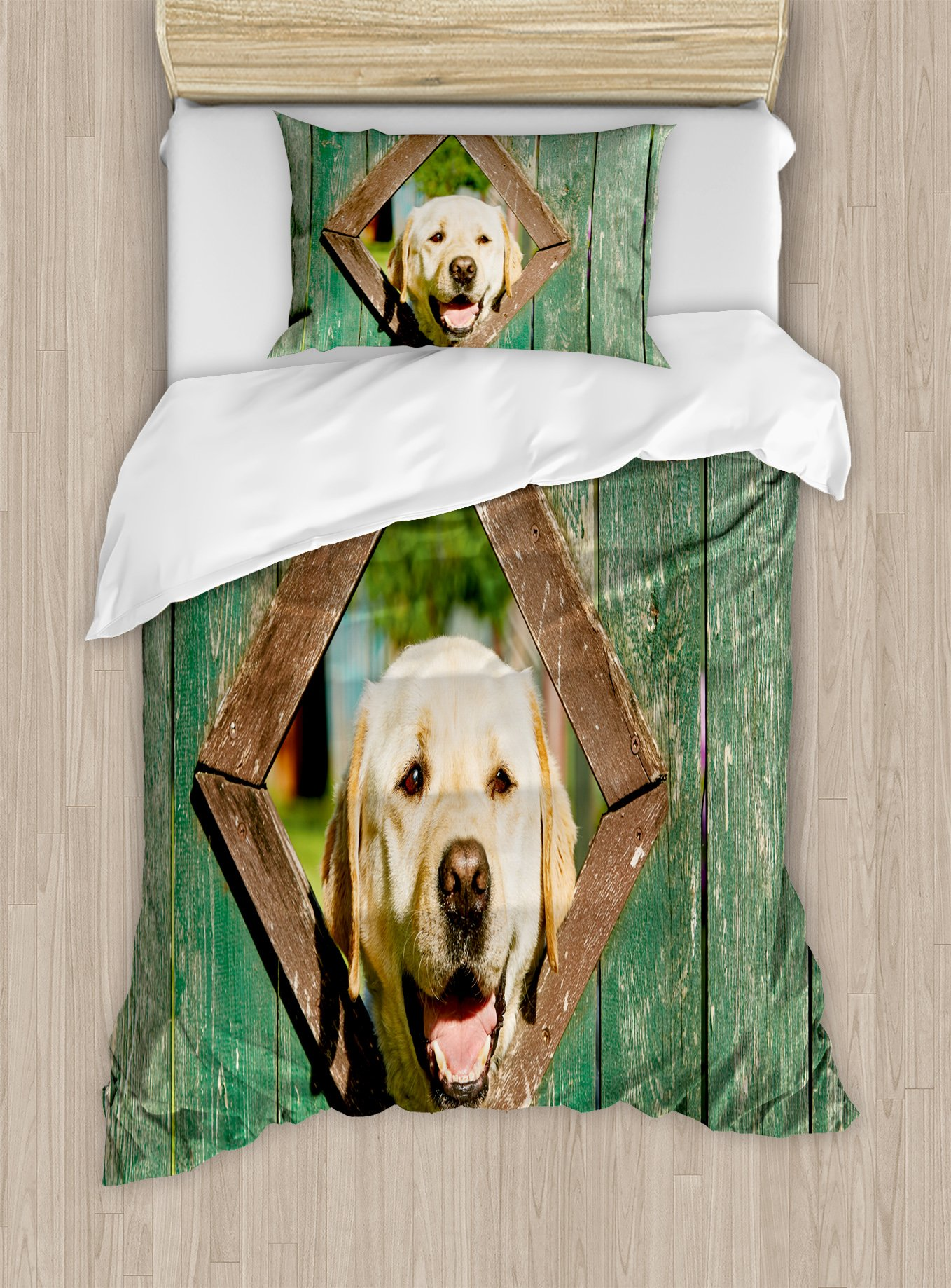 Ambesonne Funny Duvet Cover Set Twin Size, Curious Dog is Looking from Window in Old Rustic Wooden Fence Cheerful Print, Decorative 2 Piece Bedding Set with 1 Pillow Sham, Forest Green Brown
