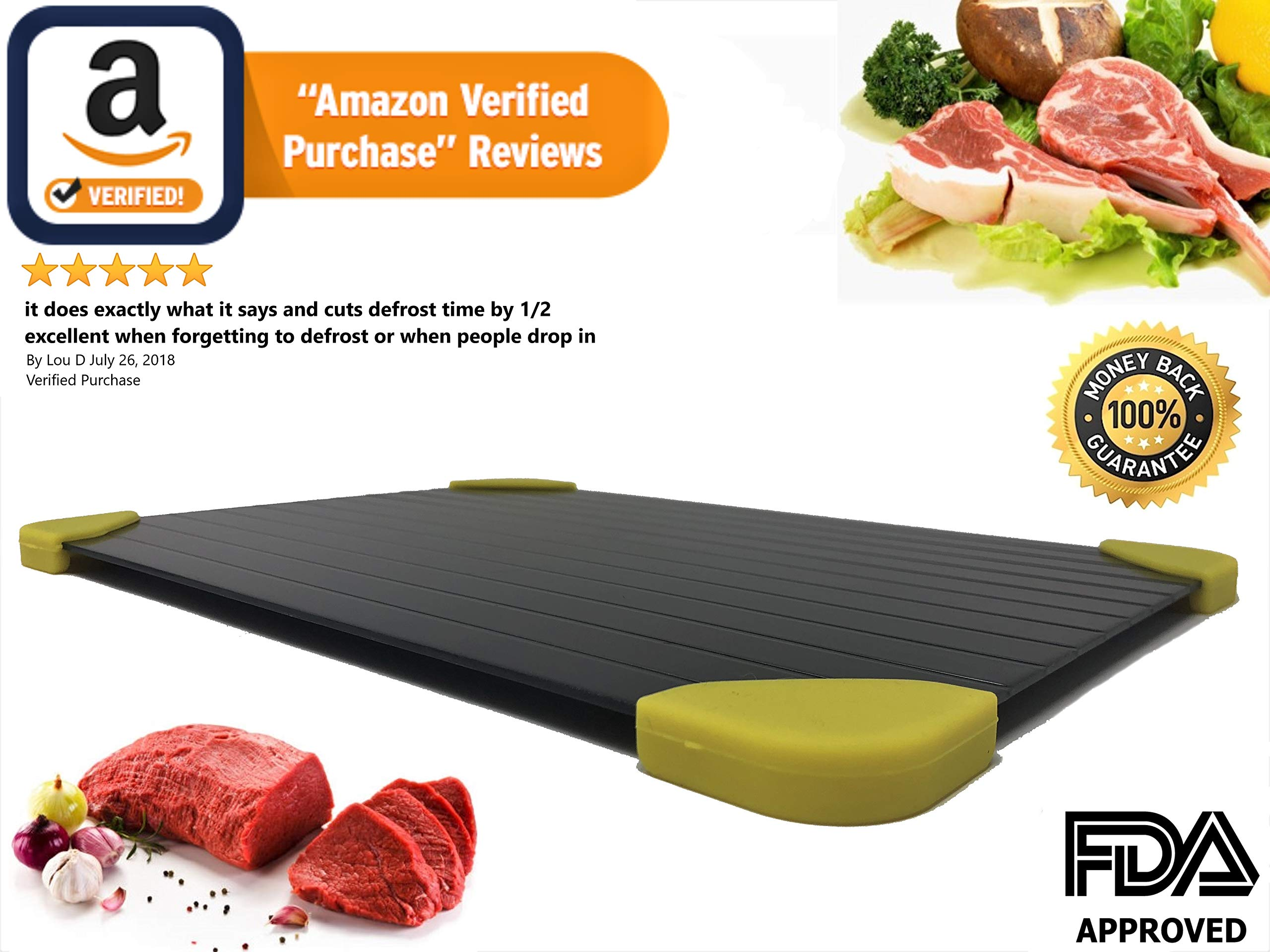 Rapid Defrosting Tray Frozen Meat Thawing Plate. Quickest Way to Defrost Your Frozen Foods Safely. No Chemicals, No Heat, No Power.