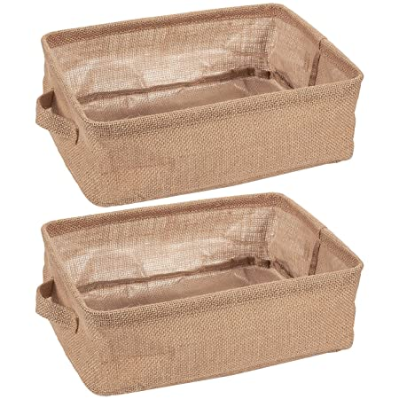 Juvale Collapsible Storage Bin Basket - 2 Pack - Fabric Linen Cloth Storage Basket with Handles - Perfect for Underbed, Magazine, Shelves, Closet, Magazine, Storage   Beige, 12.25 x 10 x 4 Inches